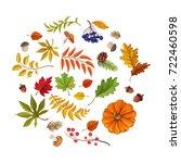 autumn leaves  pumpkin... | Shutterstock .eps vector #722460598