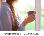 thoughtful young brunette woman ... | Shutterstock . vector #722464603