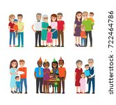 set of happy families group... | Shutterstock . vector #722464786