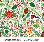 cute hand drawn winter holidays ... | Shutterstock .eps vector #722470204