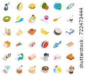 banana icons set. isometric... | Shutterstock .eps vector #722473444
