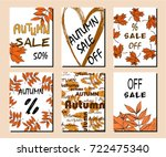 collection of autumn sale and... | Shutterstock .eps vector #722475340