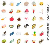 pizza icons set. isometric... | Shutterstock .eps vector #722478550