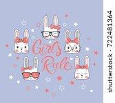 cute little rabbits. girls rule | Shutterstock .eps vector #722481364