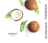creative layout made of coconut ... | Shutterstock . vector #722483524