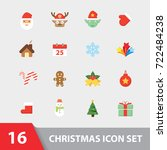 christmas symbol icon set.... | Shutterstock .eps vector #722484238