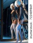 mulatta in black  lace...   Shutterstock . vector #722489869