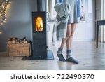 young woman wearing winter... | Shutterstock . vector #722490370