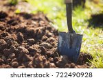 closeup photo  shovel in the... | Shutterstock . vector #722490928