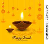 yellow diwali festival design | Shutterstock .eps vector #722493199