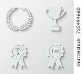 awards badges and cups icons  ...   Shutterstock .eps vector #722494660