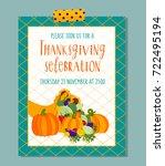 vector thanksgiving invitation... | Shutterstock .eps vector #722495194
