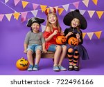 happy brother and two sisters... | Shutterstock . vector #722496166