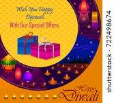 happy diwali light festival of...   Shutterstock .eps vector #722498674