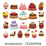 amazing festive cakes and tasty ... | Shutterstock .eps vector #722503906