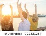three friends enjoying outdoors ... | Shutterstock . vector #722521264