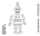 cartoon vector doodle robot for ... | Shutterstock .eps vector #722526136