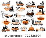 happy halloween party or... | Shutterstock .eps vector #722526904