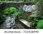 Mossy Stone Bench Carved In...
