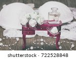 accessories of bride in retro... | Shutterstock . vector #722528848