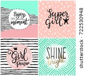 set of four greeting card with... | Shutterstock .eps vector #722530948
