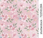 seamless watercolor floral... | Shutterstock . vector #722531284