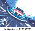 power racing car on speed track.... | Shutterstock .eps vector #722539729