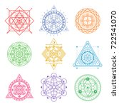 collection of colored sacred... | Shutterstock .eps vector #722541070