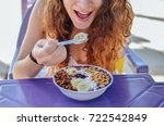 acai bowl woman eating morning... | Shutterstock . vector #722542849