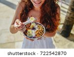 acai bowl woman eating morning... | Shutterstock . vector #722542870