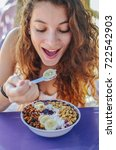 acai bowl woman eating morning... | Shutterstock . vector #722542903