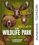 wild animals welcome poster for ... | Shutterstock .eps vector #722543290
