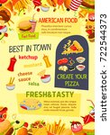 fast food poster of pizza ... | Shutterstock .eps vector #722544373