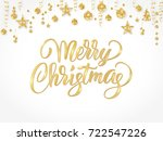 merry christmas card with hand... | Shutterstock .eps vector #722547226