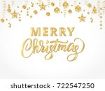 merry christmas card with hand... | Shutterstock .eps vector #722547250