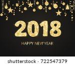 2018 card with glitter... | Shutterstock .eps vector #722547379