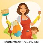 busy mom   Shutterstock .eps vector #722547433