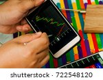 people make forex trade graph...   Shutterstock . vector #722548120