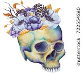 watercolor human skull with... | Shutterstock . vector #722554360