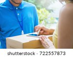 woman appending receive sign... | Shutterstock . vector #722557873