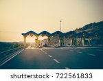 cars passing through the toll... | Shutterstock . vector #722561833