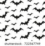 bat silhouette seamless pattern....   Shutterstock .eps vector #722567749
