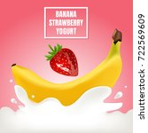 banana and srawberry with...   Shutterstock .eps vector #722569609