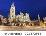 Burgos Cathedral on Plaza de San Fernando seen at night. Burgos, Castile and Leon, Spain.