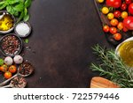 tomatoes  basil and spices on... | Shutterstock . vector #722579446