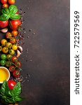 tomatoes  basil and spices on... | Shutterstock . vector #722579569
