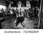 handsome muscular caucasian man ... | Shutterstock . vector #722582809