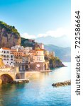 morning view of amalfi... | Shutterstock . vector #722586664