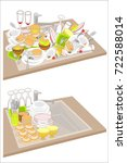 kitchen sink. two pictures.... | Shutterstock .eps vector #722588014