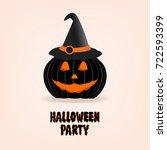 halloween pumpkin design vector ... | Shutterstock .eps vector #722593399